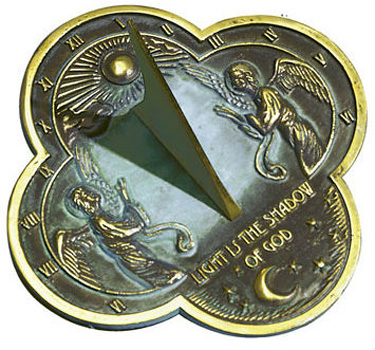 Rome Rome Angel Sundial Solid Brass with Verdigris Highlights by