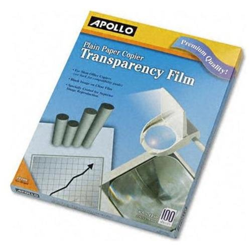 "Apollo Plain Paper Copier Film, Multiple Types Available, 8.5"" x 11"", Clear, Pack of 100 Sheets"