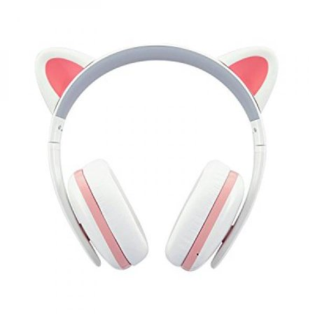Censi Bluetooth Cat Ear Headphones Over Ear Noise Canceling Wireless Bluetooth Headphones With Mic Valentines Day Gifts For Her  White Pink  Bluetooth