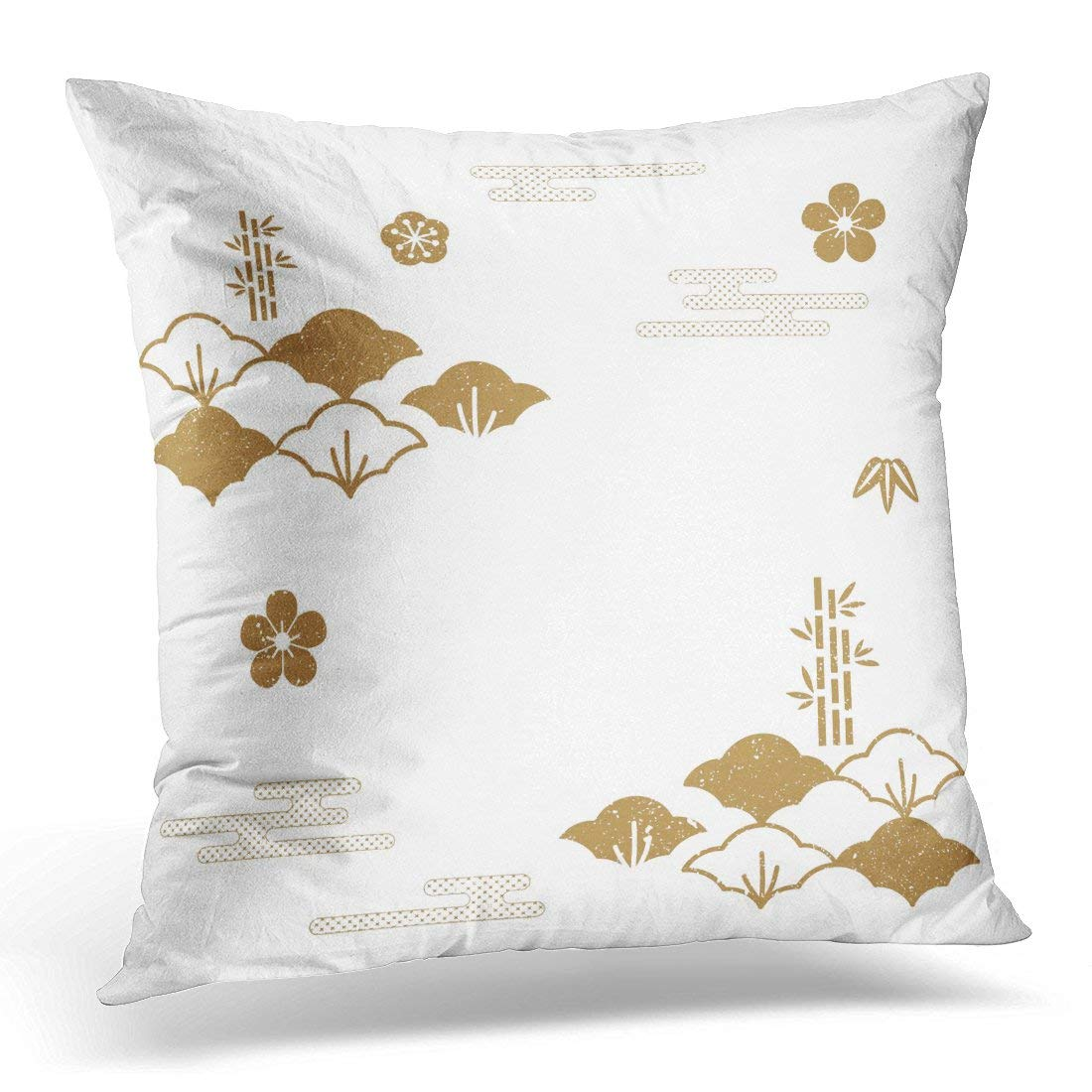 USART Tradition Japanese Pattern Gold and Symbols of Traditional in Japan Asia Pillow Case Pillow Cover 20x20 inch