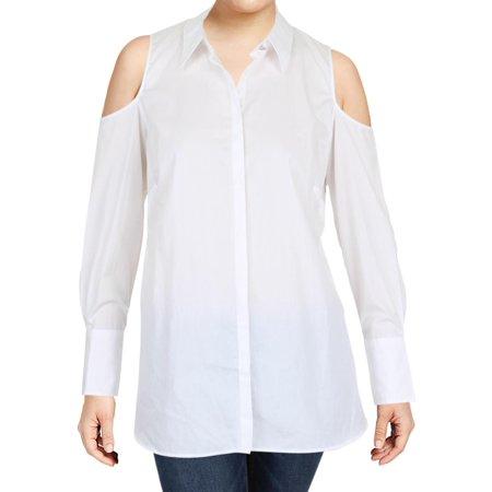 13aff685b3f355 Lauren Ralph Lauren - Lauren Ralph Lauren Womens Plus Adelshy Cold Shoulder  Button-Down Top - Walmart.com