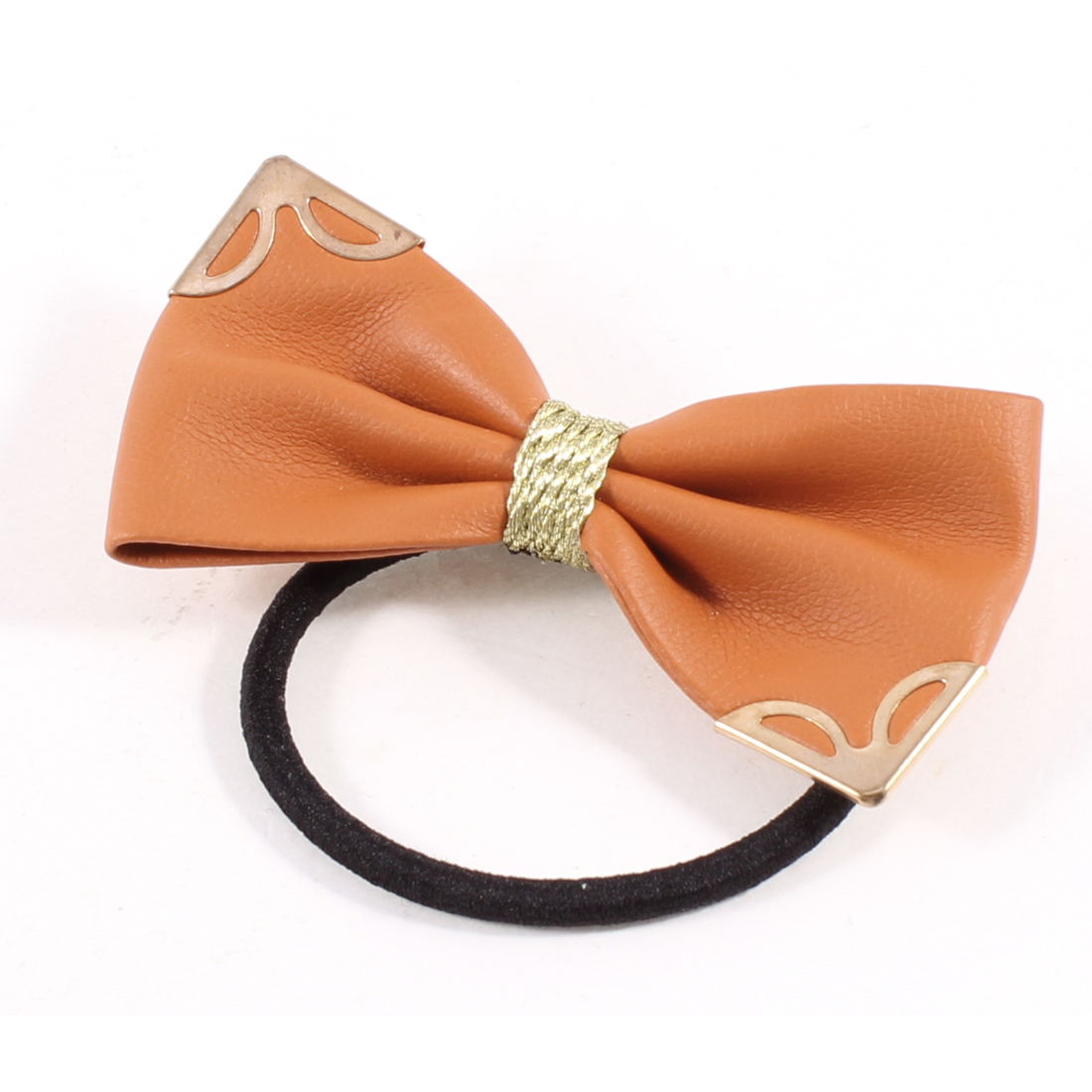 Unique Bargains Dark Orange Faux Leather Lovely Butterfly Knot Hair Tie Band Ponytail Holder