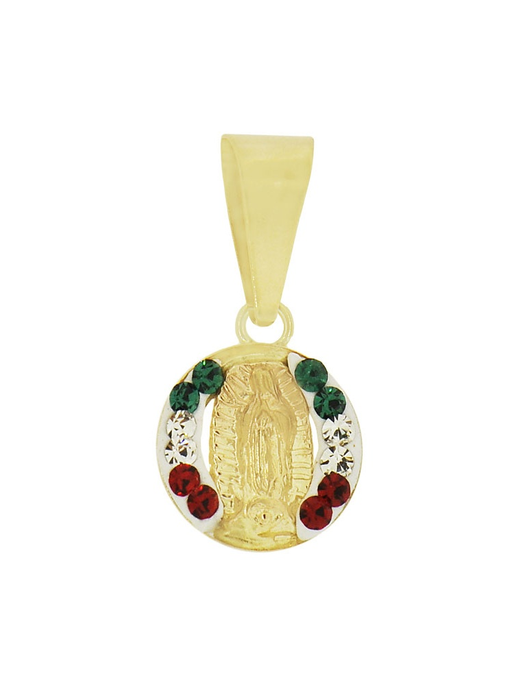 14k Yellow Gold, Tiny Mini Size Virgin Mary Religious Charm Colorful Enamel Lab Created CZ Crystals