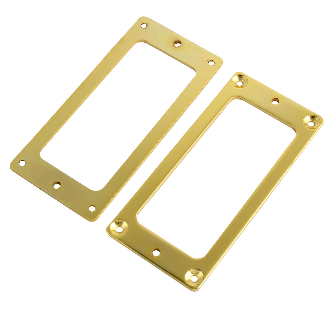 Guitar Bass Pickup Flat Frame Mounting Rings Cover Plate Gold Tone 2pcs