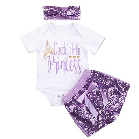 3Pcs Baby Girl Daddy's Princess Romper Tops + Bowknot Flash Short Pants + Headband Toddler Jumpsuit (Flash Outfit)