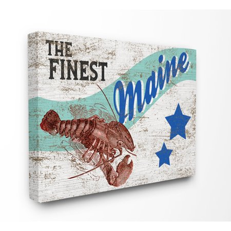 Finest Art - The Stupell Home Decor Collection Rustic Americana Star Crate Finest Lobster Maine State Stretched Canvas Wall Art, 16 x 1.5 x 20