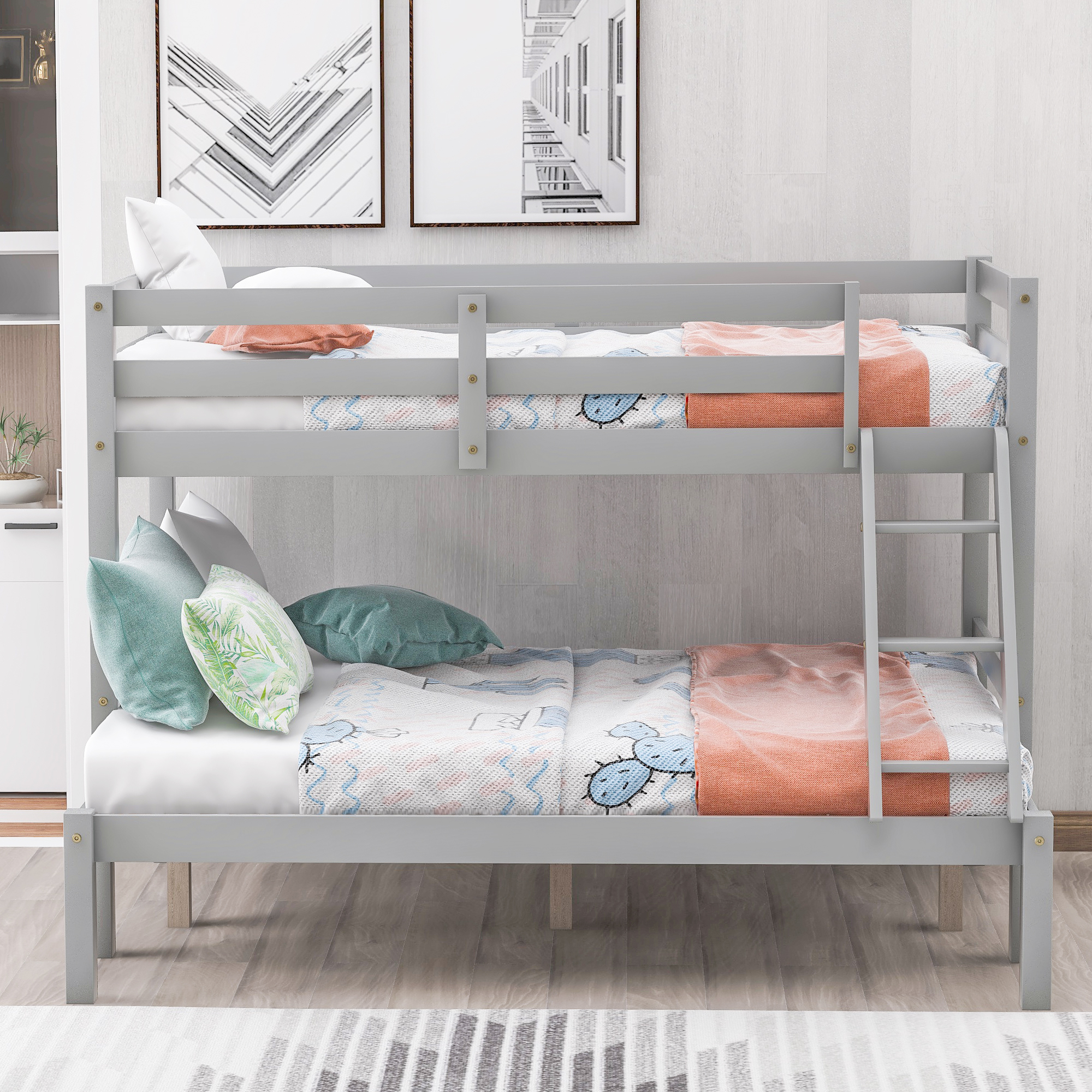 Bunk Beds For Kids Modern Twin Over Full Wood Bunk Bed Wood Bunk Beds Twin Over Full With Ladder And Guard Rail Functional Bunk Beds Twin Over Full Size For Dormitory Apartment