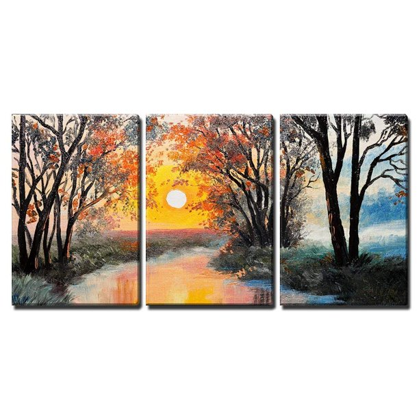 Wall26 3 Piece Canvas Wall Art Oil Painting On Canvas The River Watercolor Wallpaper Tree Modern Home Decor Stretched And Framed Ready To Hang 24 X36 X3 Panels Walmart Com Walmart Com