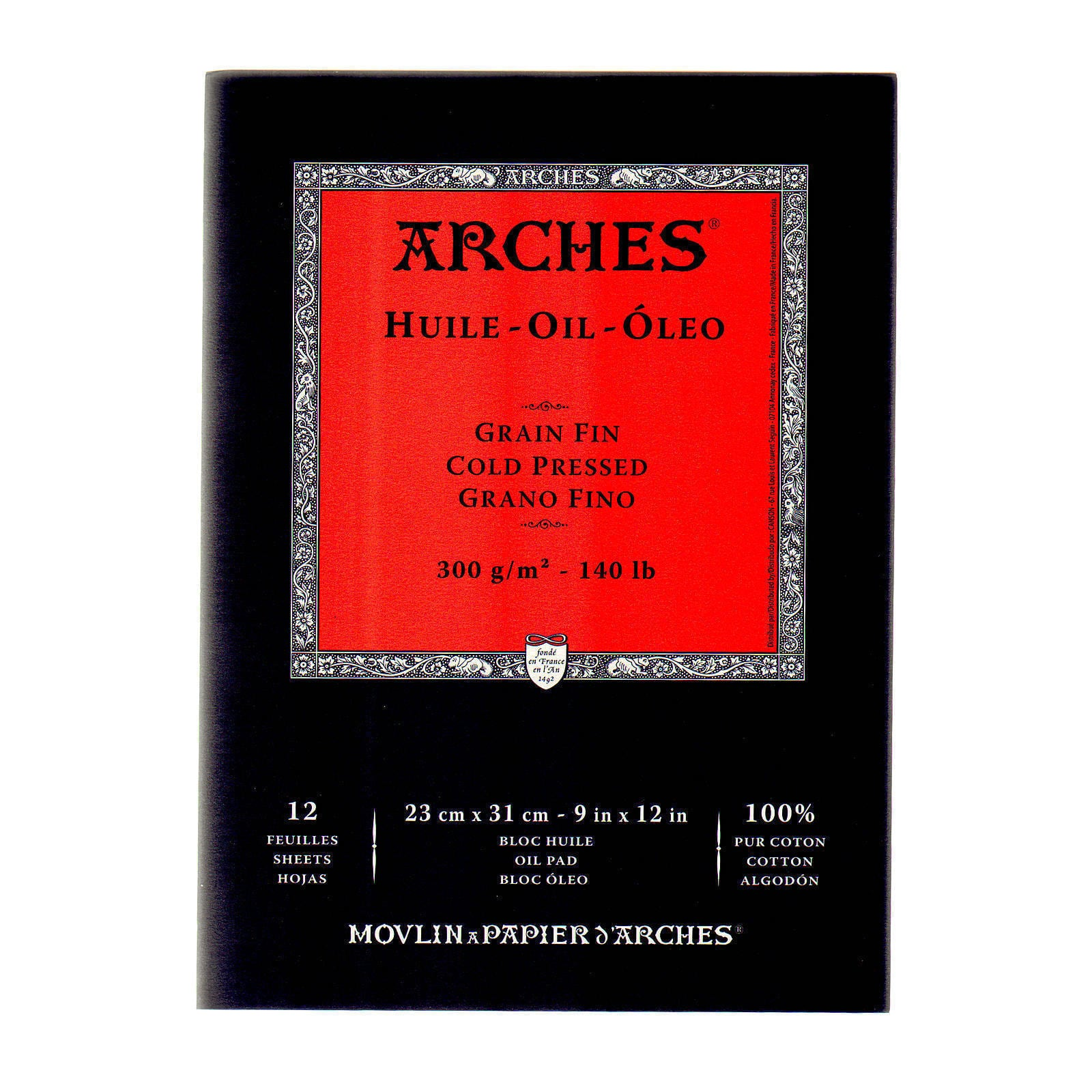 Canson C200006579 Arches 12 x 16 Oil Paper 12-Sheet Pad