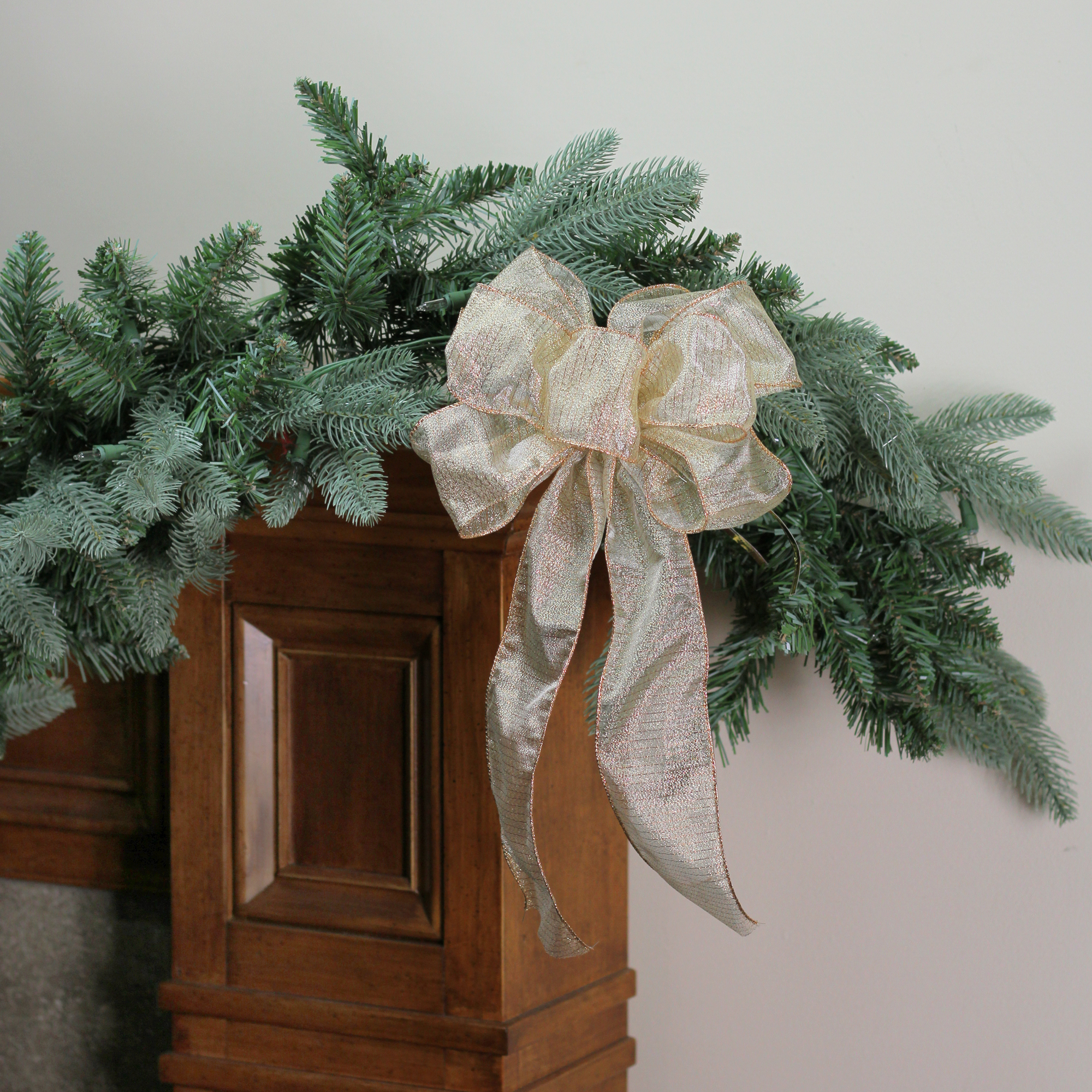"""8"""" x 16"""" Sheer Gold with Gold Glitter Stripes 6 Loop Christmas Bow Decoration"""