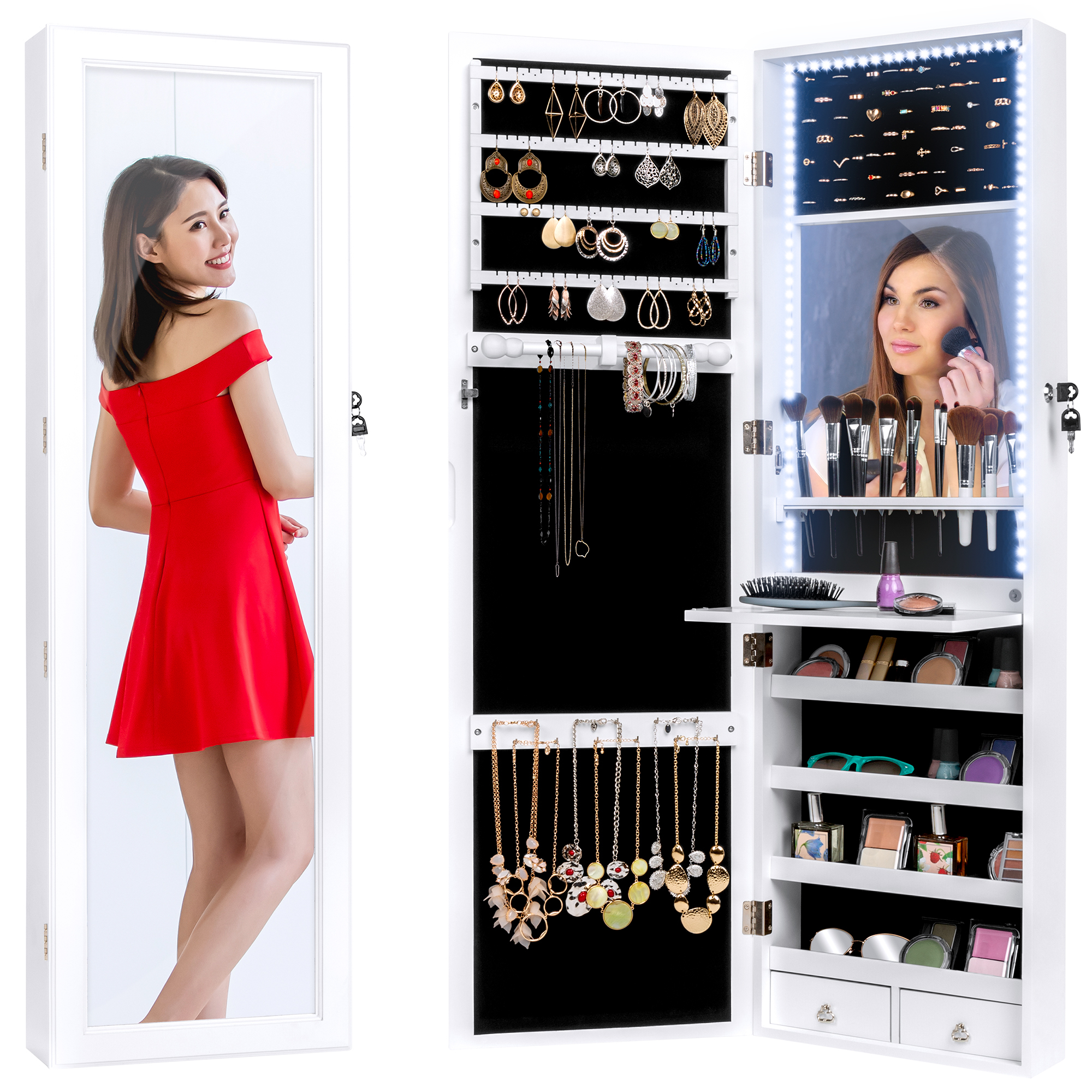 Best Choice Products Hanging Mirror Jewelry Armoire Cabinet For Door Or Wall Mount W Led Lights Cosmetics Tray Lock Walmart Com Walmart Com
