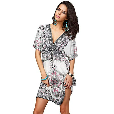Womens Fashion V Neck Beach Wear Summer Swimsuit Cover Ups Bikini Dresses - Dress Ups For Adults