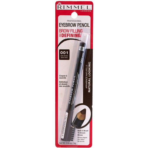 Rimmel Professional Eyebrow Pencil, 001 Dark Brown, 0.05 oz