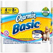 Charmin Basic Toilet Paper, White, 4 Double Rolls