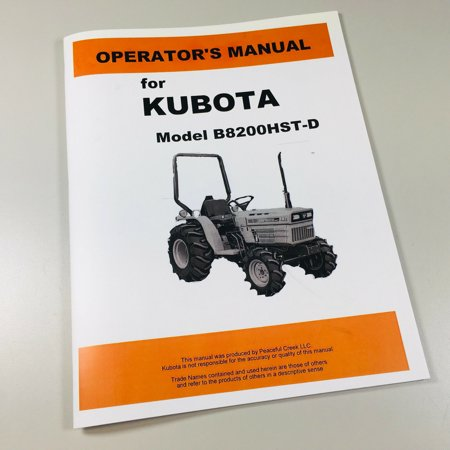 Kubota B8200Hst-D 4Wd Tractor Operators Owners Manual Maintenance -  AgPubs