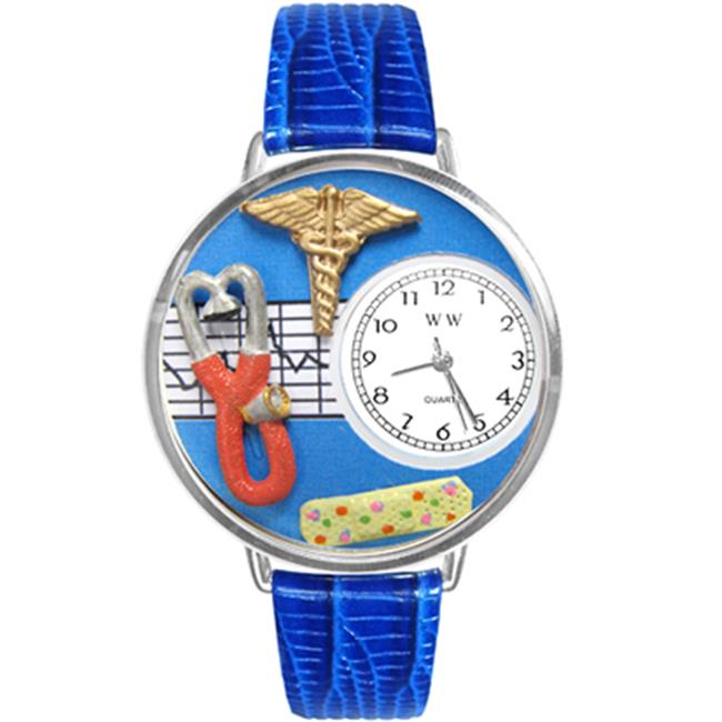 Whimsical Gifts U-0620059 Nurse 2 Blue Watch In Silver Large