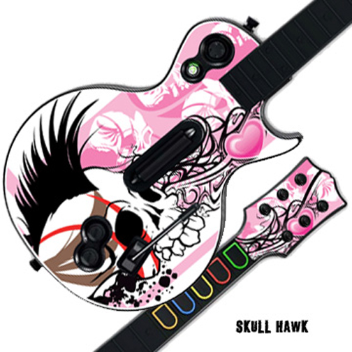 Mightyskins Protective Skin Decal Cover Sticker for GUITAR HERO 3 III PS3 Xbox 360 Les Paul - Skull Hawk
