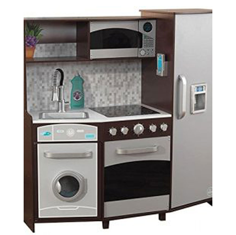 KidKraft Large Play Kitchen with Realistic Lights and Sounds, Espresso/Silver
