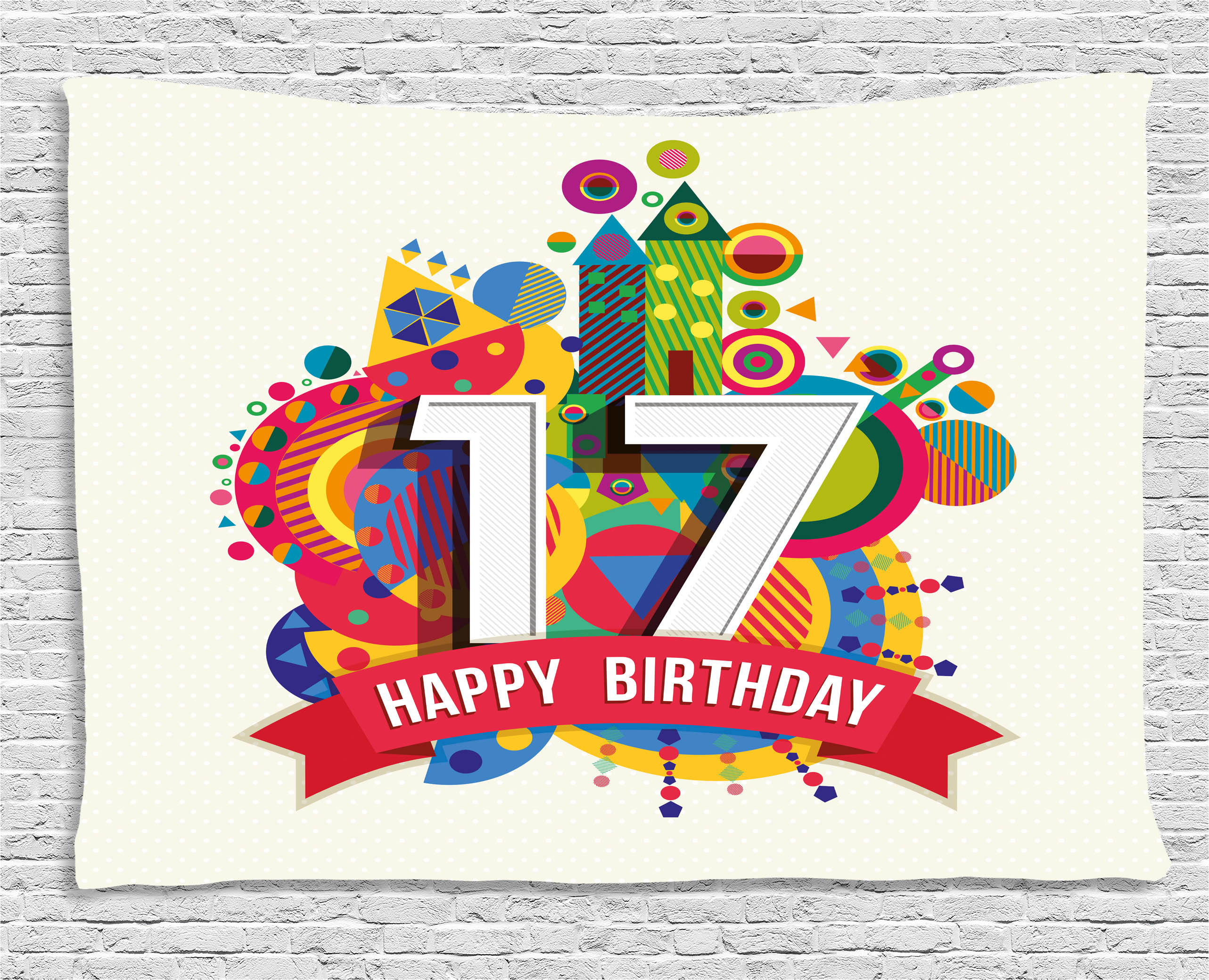 17th Birthday Decorations Tapestry Sweet Seventeen Party With Geometric Castle Boat And Shapes Image Wall Hanging For Bedroom Living Room Dorm Decor
