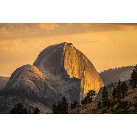 Half Dome at sunset during the Meadow Fire as seen from near Olmsted Point along the Tioga Pass Road in Yosemite National Park California United States of America PosterPrint