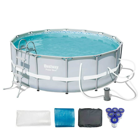 Bestway 14ft x 48in Steel Frame Above Ground Pool Set + 6 Coleman Cartridges Lomart Above Ground