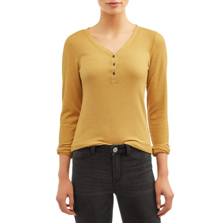 Time and Tru Women's Thermal Henley Shirt