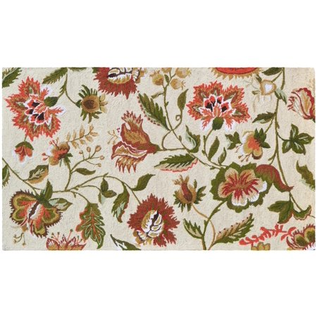 Rug Jacobean Floral Flowers 5x3 Cream Wool Yarns New Hand-Hooked JK-153