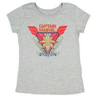 Marvel's Captain Marvel Protector Of The Skies Girl's Grey T-Shirt Medium