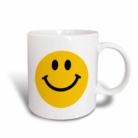 3dRose Yellow Smiley Face - Cute Traditional Happy Smilie - 1960s Hippie style - Smiling on white, Ceramic Mug, 11-ounce (Smiley Face Happy Halloween)