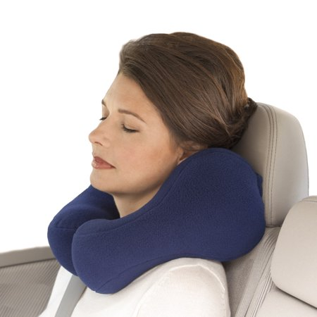 Sunshine Pillows Ergonomic Travel Neck Pillow, Cervical Neck Support, Navy Blue, Medium