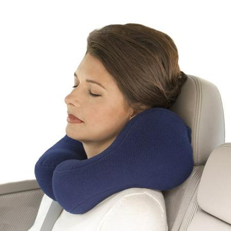 Sunshine Pillows Ergonomic Travel Neck Pillow, Cervical Neck Support, Navy Blue, Medium