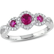 1/2 Carat T.G.W. Created Ruby and 1/8 Carat T.W. Diamond 10kt White Gold Three-Stone Engagement Ring