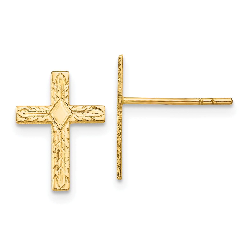 14K Yellow Gold Polished & Textured Cross Earrings - image 2 de 2