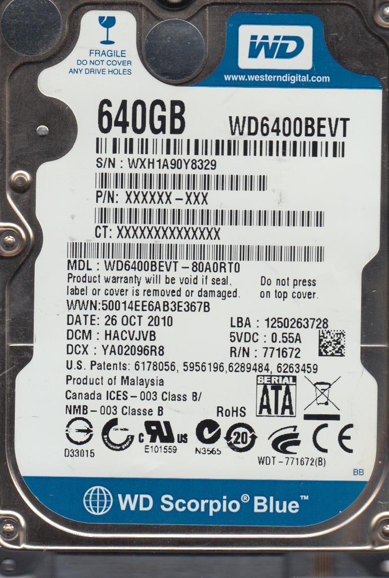 WD6400BEVT-80A0RT0, DCM HACVJVB, Western Digital 640GB SATA 2.5 Hard Drive by Western Digital