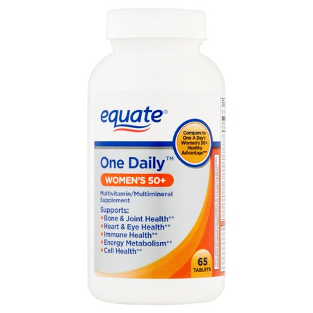 (2 Pack) Equate Women's 50+ One Daily Multivitamin/Multimineral Supplement Tablets, 65