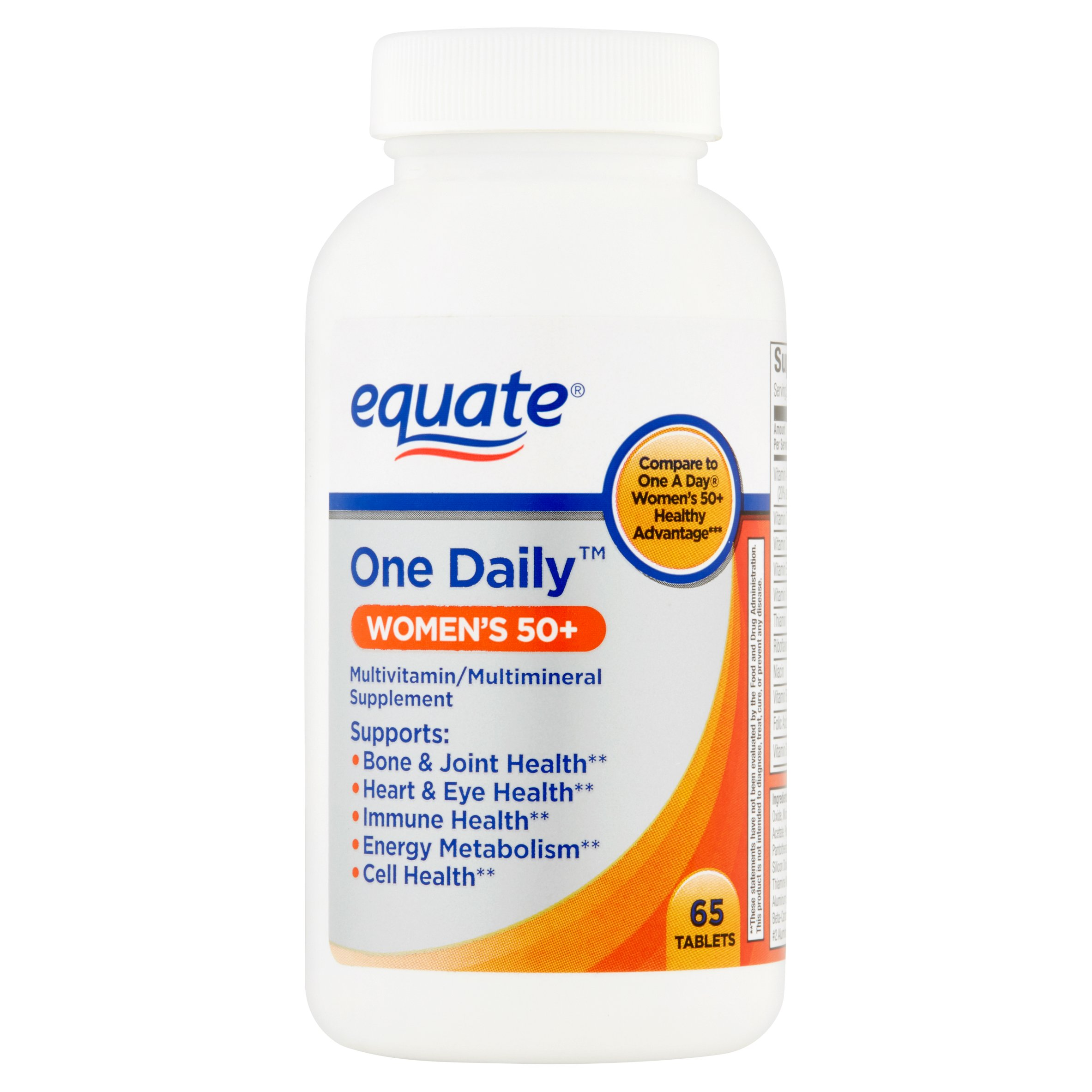 (2 Pack) Equate Women's 50+ One Daily Multivitamin/Multimineral Supplement Tablets, 65 Ct