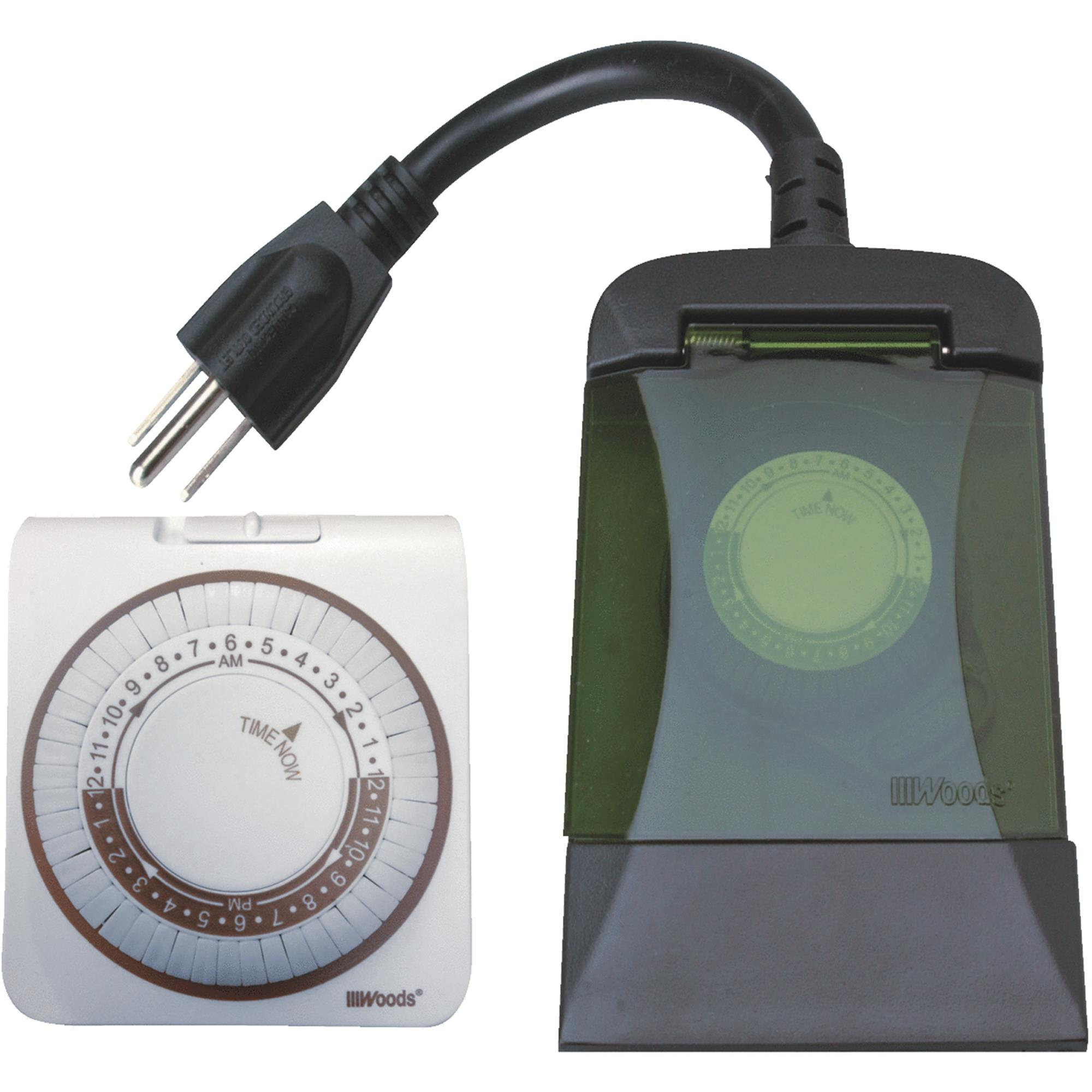 Woods 13571WD Mechanical Indoor and Outdoor Outlet Timer Combo, 2-Pack