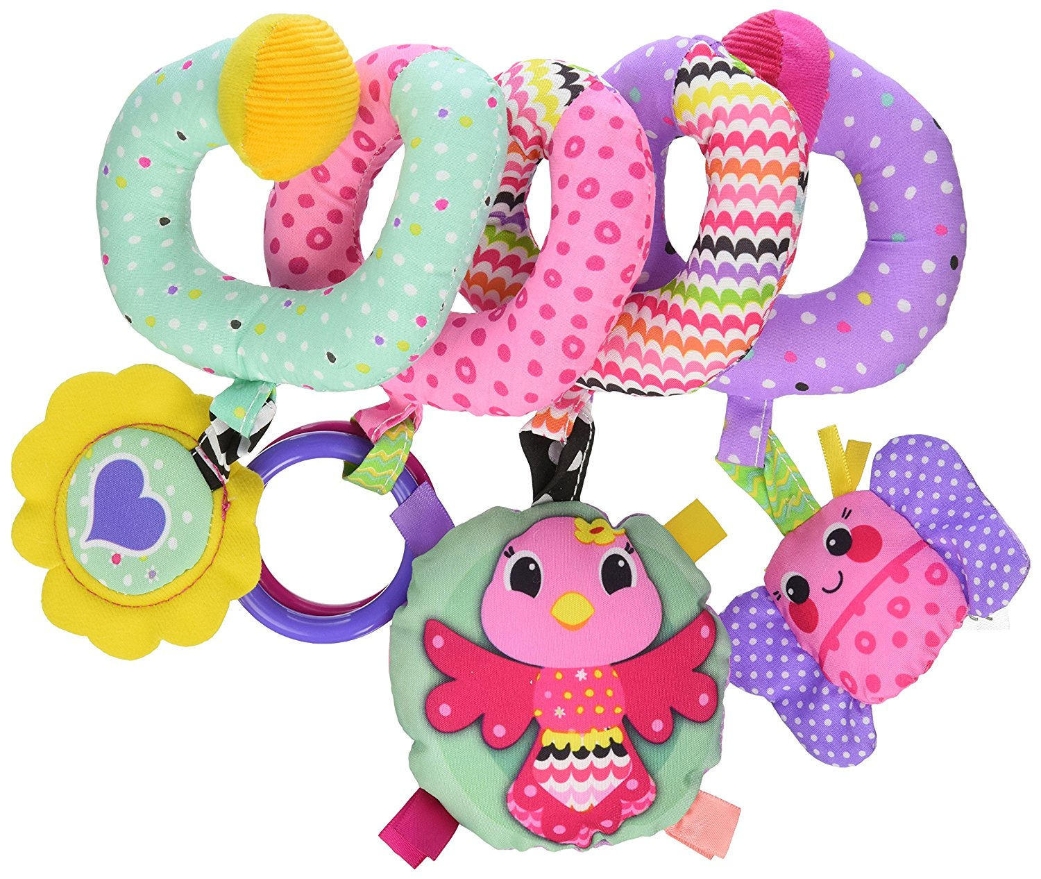 Spiral Activity Toy, Pink, Includes peek n' see mirror,2-clacker rings, bird rattle,... by Infantino