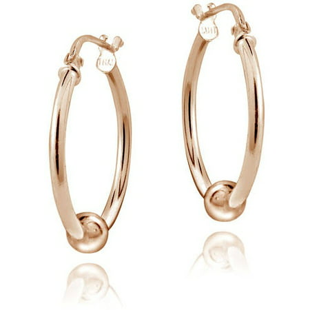 Rose Gold-Tone over Sterling Silver Bead Round Hoop Earrings, 18mm