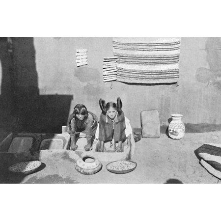 Hopi Indians Art (Hopi Indian women grinding corn meal, Walpi, Arizona, 1912 Print Wall Art By Robert Wilson)