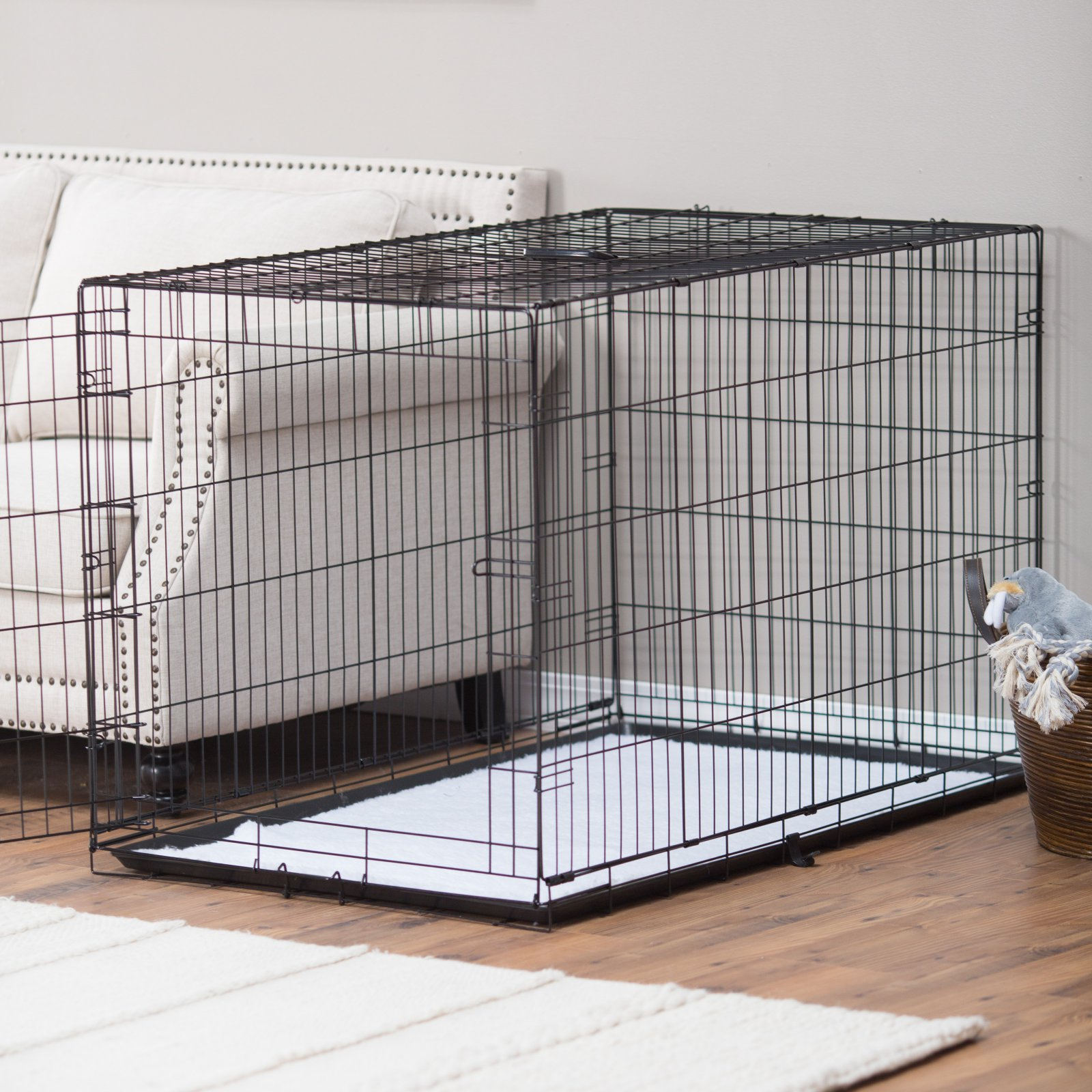 Precision Pet Products ProValu Single Door Dog Crate with Free Fleece Crate Mat