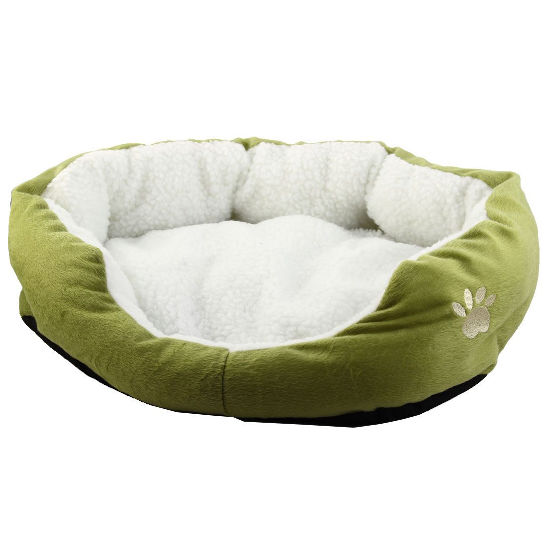 Pet Cat Plush Removable Cushion Nesting Dog Bed Cave Olive Green 50cm x 40cm