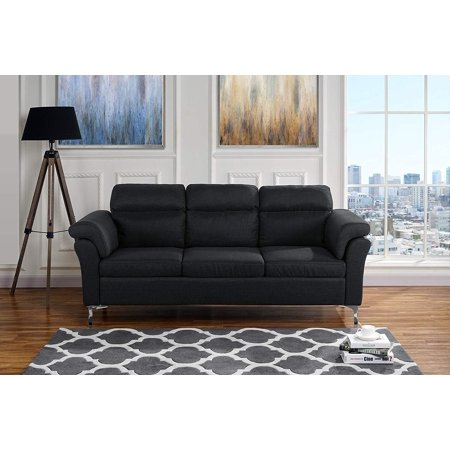 Living Room Linen Fabric Sofa, 3 Seater Couch (Black)