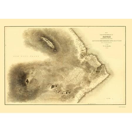 Old County Map   Hawaii   Us Ex 1841   23 X 32 16