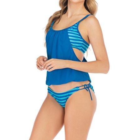 LELINTA Women's Stripes Bikini Swimwear Slimming Beach Tankini Bathing Suits Light Blue Swimsuit - image 5 de 6