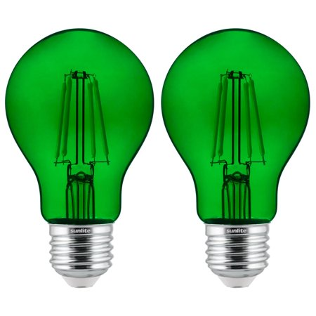 2-Pack Sunlite LED Transparent Green A19 Filament Bulbs, 4.5 Watts, Dimmable, UL Listed