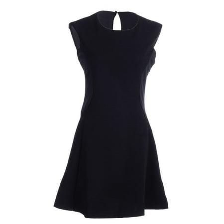 S/M Fit Black Key Hole Back Closure Side Patch Panels A-Line Dress Side Panel Dress