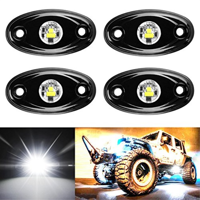 White 4PCS 9W LED Rock Light Fit JEEP Off-road Boat Under Body Trail Rig Light