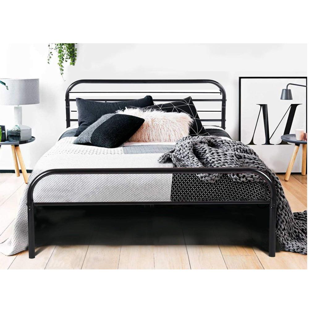 UBesGoo Full Bed Frame Metal Platform Mattress Base Black Bed with Vintage Headboard, Full