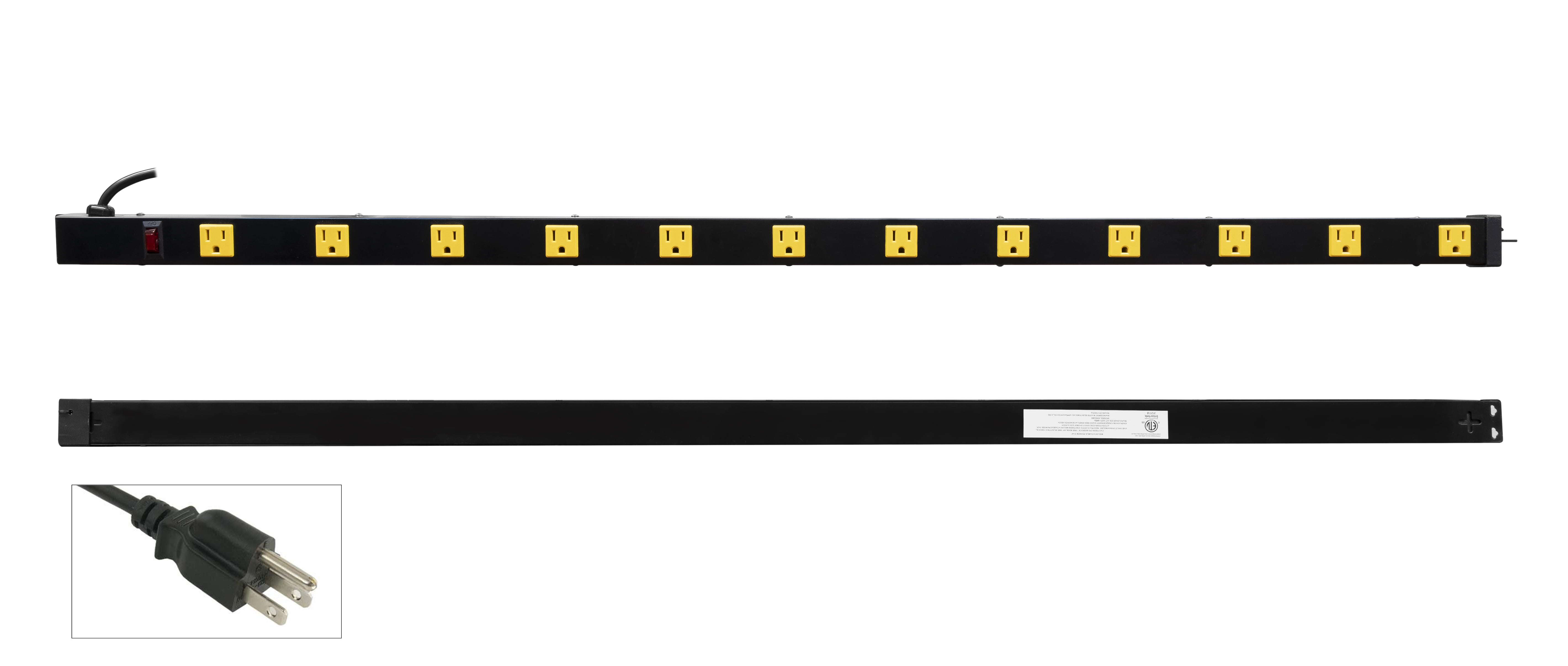 Inland - 12 Outlet 4ft Power Strip 03201 with 3ft Power Cord, Metal  Housing, 125V/15A, Lighted Combo Switch/Breaker, ETL Listed